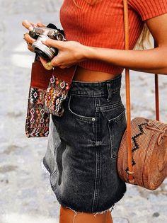 black denim skirt + straw bag