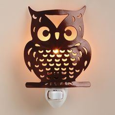 Handcrafted Metal Owl Night-Light | World Market Pinned by www.myowlbarn.com