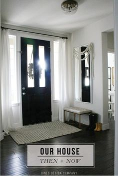 """love how Emily of Jones Design Company made her standard builder-grade house into a home over the course of years. Something to keep in mind when I think I don't want a """"cookie-cutter"""" home Sidelight Curtains, Front Door Curtains, Sidelight Windows, Front Door Entryway, Front Door Decor, Privacy Glass Front Door, Window Privacy, Entry Hallway, Inside Front Doors"""