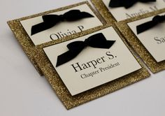 5 Black and Gold Sorority Name Tags - Custom for Sorority Recruitment, Rush, Weddings, and Parties Recruitment Name Tags, Sorority Name Tags, Sorority Recruitment, Diy Name Tags, Springtime In Paris, Human Body Unit, Founders Day, Door Tags, Diy Ribbon