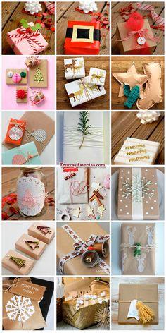 ideas para envolver regalos de navidad con papel de regalo y otros adornos Christmas Love, Christmas Goodies, Christmas Wrapping, Diy Christmas Gifts, Holiday Crafts, Christmas Decorations, Christmas Landscape, Gift Wraping, Gift Bows