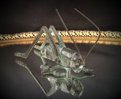Cast Iron Metal Grasshopper Insect Sculpture by MadMaxxEstateSale