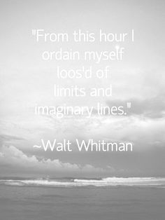 """""""From this hour I ordain myself loos'd of limits and imaginary lines"""".......Walt Whitman.    (in other words set yourself free, the sky's the limit....and even that is under debate nowadays LOL)  go, go GO"""
