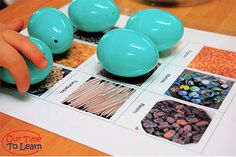 Free printable mat for a fun easter egg game about the senses. Go to the Our Time to Learn blog for this and more science activities about the human body! Great for preschool, home school, and kindergarten.