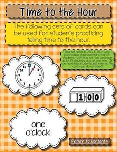 Here's a set of cards for a time matching activity. Includes time to the hour in words and on digital and analog clocks.