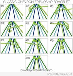 Chevron Friendship Bracelet Technique - Classic Chevron Friendship Bracelet - Luxe DIY - How Did You Make This?Technique - Classic Chevron Friendship Bracelet - Luxe DIY - How Did You Make This? Chevron Armband, Bracelet Chevron, Diy Friendship Bracelets Patterns, Diy Friendship Bracelets Step By Step, Friendship Bracelet Knots, Friendship Bracelet Instructions, Diy Bracelets Easy, Thread Bracelets, Bracelet Crafts