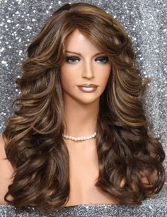 Buy Mixcolor Brown Blond Long Curly Wavy Hair Wigs Heat Resistant Wigs For Women Middle Part Hair Wigs at Wish - Shopping Made Fun Hairstyles For Gowns, Short Bob Hairstyles, Curled Hairstyles, Wedding Hairstyles, Layered Hairstyle, Wavy Mid Length Hair, Middle Part Hairstyles, Hair Extension Care, Flat Iron Curls