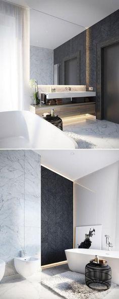 salle de bain de reve, salle de bain en gris et blanc, idée déco salle de bains