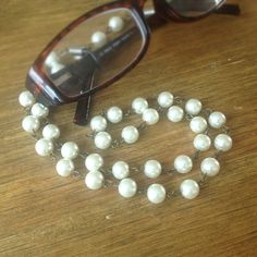 A lovely glasses chain, Lovingly Krafted using vintage pearl beads. #upcycled #vintage