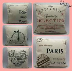 almohadones con diseño vintage Bee Gifts, Diy Pillows, Wood Wall Art, Homemade Gifts, Decoupage, Stencils, Diy And Crafts, Sweet Home, Sewing