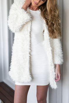 White Artificial Fur Duster Coat
