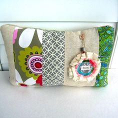 patchwork pillow fabric scrap pillow bohemian by tracyBdesigns, $18.00