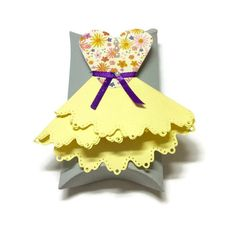 Decorative Pillow Box Yellow Paper Dress Treat by RJsPaperPlay