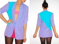 Vtg 80's Color Block Asymmetric Deep V Tuxedo Jacket  http://www.etsy.com/shop/LuluTresors