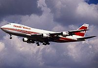 TWA 747 -- a beautiful bird! Back in the early '80s, I flew this bird many times from Boston to San Fran and back.
