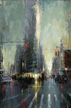 """Daily Paintworks - """"NYC - Flatiron"""" - Original Fine Art for Sale - © Victor Bauer he said he likes this one more. Wait he's changing his mind, just kidding 7 Arts, City Painting, New York Painting, Painting Art, Abstract City, Cityscape Art, Art Abstrait, City Art, Art Plastique"""