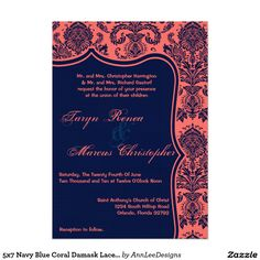 5x7 Navy Blue Coral Damask Lace Wedding Invitation