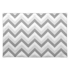 Zigzag de Chervron de lt deux blanc gris Sets De Table