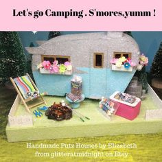 Putz Camper Trailer with Campfire and S'mores All Holidays, Holidays And Events, Christmas Home, Christmas Gifts, Christmas Villages, Christmas Ideas, Putz Houses, Mini Houses, Gingerbread Houses