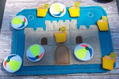 Busy Board Felt Board Beach Sandcastle tic tac toe board busy bag sand pail & beach ball pieces Felt Game Children and Adults rear pocket by cabincraftycreations on Etsy