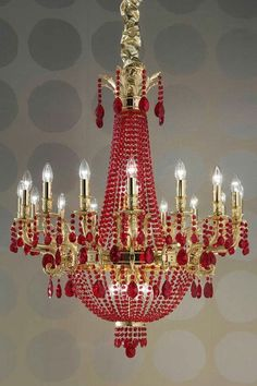 Large chandelier in red crystal and gold-plated metal, rounded form, drops in red diamond-facetted crystal - Murano glass and crystal - Available on Vraiment Beau - We deliver worldwide - Référence : 11110581 Red Chandelier, Luxury Chandelier, Antique Chandelier, Chandelier Lighting, Crystal Chandeliers, Bubble Chandelier, Style Salon, Beautiful Lights, Chinoiserie