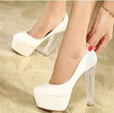 Fashion Shoes Woman High Heels Shoes Crystal Thick Heels Platform Women Pumps US $33.60