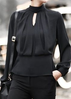 Tie Back Keyhole Neckline Cuff Sleeve Black Blouse on sale only US$32.06 now, buy cheap Tie Back Keyhole Neckline Cuff Sleeve Black Blouse at liligal.com