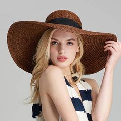 795f0715672 Coffee wide brim straw hat with bow for women UV protection sun hats