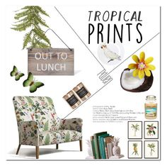 """""""Tropical Prints"""" by alinnas ❤ liked on Polyvore featuring interior, interiors, interior design, home, home decor, interior decorating, NDI, Garden Trading, Cocolux and NOVICA"""