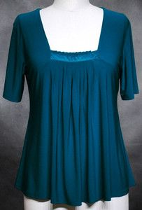 Don't forget eBay when looking for plus size fashion as many ebay shops cater exclusively for larger women.  This pleated square neck top is available up to size 5X/60 inch bust and international shipping is available.  Ladywan at ebay.