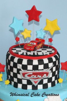 WhimsicalCreationsca Disney Cars Cake Featuring Lightening McQueen