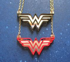 Items similar to Wonder Woman Logo Pendant Golden Chain Necklace Gold and Red or Gold and Black Laser Cut Mirrored Acrylic on Etsy Arrow Necklace, Gold Necklace, Laser Cut Jewelry, Wonder Woman Logo, Baubles And Beads, Red Gold, Laser Cutting, Bangles, Pendants