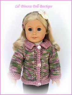 """absolutely adorable color combinaton! made from another one of my patterns.  Knitted Sweater For 18"""" Doll"""