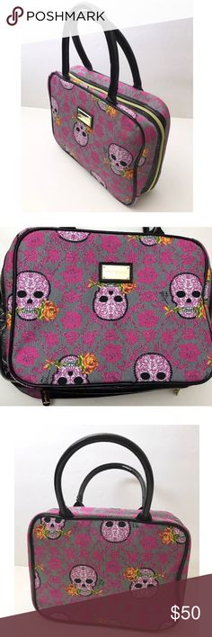 """Betsey Johnson Weekend Travel Cosmetic bag Cute Betsey Johnson Travel cosmetic makeup bag. 2 large zip pockets inside - extremely clean, like new. Pink with skulls and flora print. Approximate Measurements: 11.5"""" X 9"""". -- 3"""" width Excellent condition, like new! Please let me know if you have any questions!Thanks! Betsey Johnson Bags Cosmetic Bags & Cases"""