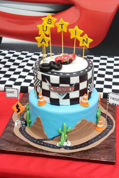 Cake at a Cars Party.  See more at CatchMyParty.com.  #cars #partyideas