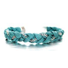 Teal Satin Chain Bracelet