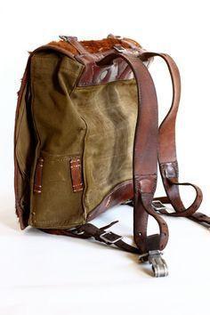 Vintage German Army Backpack Leather Canvas and by CrolA.- Vintage German Army Backpack Leather Canvas and by CrolAndCo Vintage German Army Backpack Leather Canvas and by CrolAndCo - Backpack Bags, Leather Backpack, Leather Bags, Lolita Mode, Duffle, Back Bag, Leather Projects, Canvas Leather, Leather Working