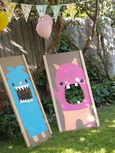 Summer party games - cardboard cut out ball eating monsters!