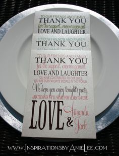 Table Thank you cards for your place settings by Inspirations by Amie Lee