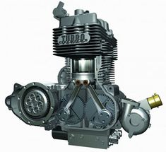 Neander turbo diesel motorcycle engine with two counter-rotating cranks and two rods per cylinder. Motorcycle Engine, Car Engine, Crate Motors, Crate Engines, Performance Engines, Combustion Engine, Vintage Motorcycles, Diesel Engine, Bike Life