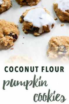 Cakey cookies are topped with silky icing. You won't believe these paleo Pumpkin Raisin cookies are gluten-free, grain-free, refined sugar free, and dairy free! Coconut Flour Recipes, Raw Food Recipes, Gourmet Recipes, Snack Recipes, Dessert Recipes, Free Recipes, Gluten Free Pumpkin, Healthy Pumpkin, Pumpkin Recipes
