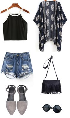 SUMMER FASHION - Contrast Trim Crop Cami Top with vintage kimono and ripped denim shorts - romwe.com