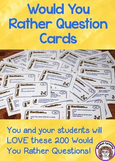 Kids love Would You Rather Questions! These are great for getting to know each other at the beginning of the year. Use for discussion or journal prompts. 200 questions.