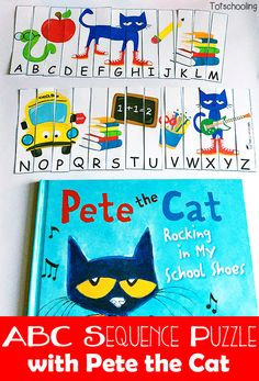 FREE printable Alphabet Sequence Puzzle with Pete the Cat. Great activity for Back to School, or can be used as a book activity for Rockin' in my School Shoes, I Love my White Shoes, Too Cool for School, or The Wheels on the Bus. Alphabet Activities, Kindergarten Activities, Book Activities, Preschool Centers, Preschool Alphabet, Sequencing Activities, Preschool Books, Kindergarten Reading, Preschool Ideas