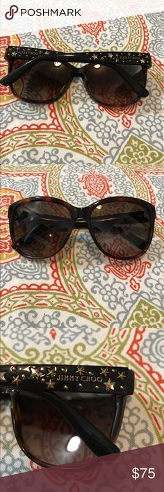 Jimmy Choo Chanty star sunglasses Like new, only worn once. Jimmy Choo Chanty star sunglasses in tortoise.  Purchased from Nordstrom Rack. Cute star details on each arm. I don't have a jimmy Choo case but they will come with a hard glasses case. Open to reasonable offers 😊 Jimmy Choo Accessories Sunglasses
