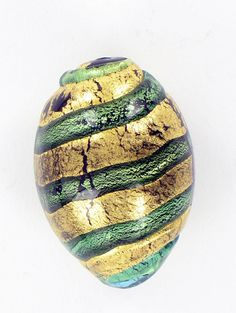 1 Venetian Glass Bead Gold with Green Barrel