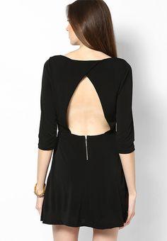 5c09dd631794 Buy MANGO Black Colored Solid Skater Dress Online - 4543699 - Jabong