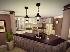 Hobbies With Wood Sims 4 House Plans, Sims 4 House Building, Home Building Design, Family House Plans, Sims 4 Kitchen, Kitchen Modern, Kitchen Ideas, Kitchen Design, Sims 4 Ps4