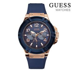 Guess Mens Watch Rigor Rose Gold Blue Strap | Buy Mens Watches | MyDeal  LIKE!!!