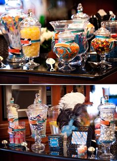 Love the feathers and apothecary jars!